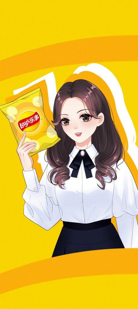 卡通杨超越乐事薯片高清手机壁纸